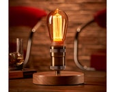 Auraglow Mysa Vintage Retro Wooden Round Base Mechanical Twist Switch Brass Table, Desk or Bedside Lamp Light