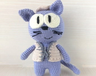 Crochet Amigurumi Cat Tilda Blue Cat Soft Cat Toy Cat Gift Cat ... | 270x340