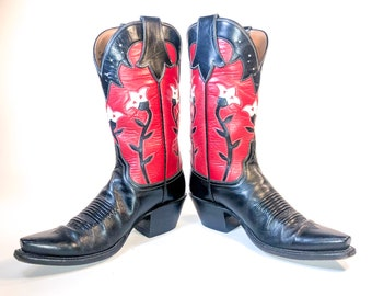 dbbae3d3 Lucchese Women's Red and Black Leather Cowboy Boots