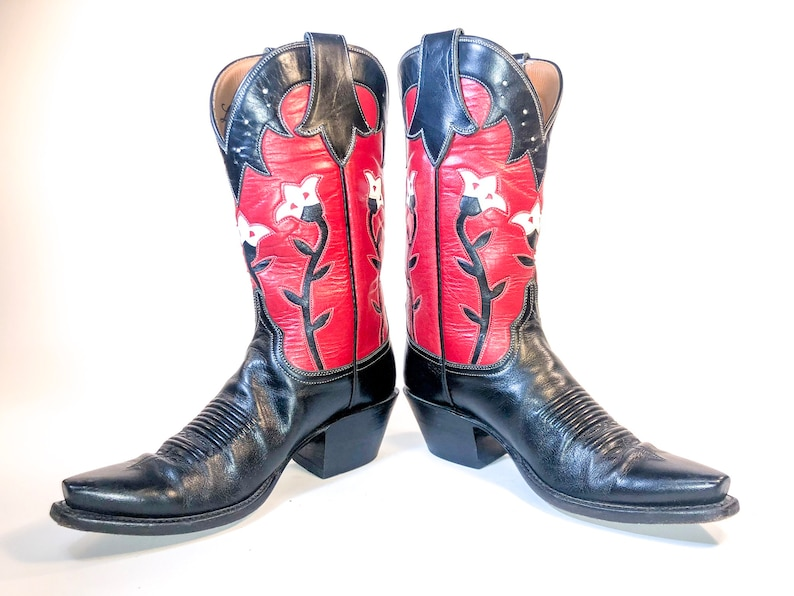 56e4cf30492 Lucchese Women's Red and Black Leather Cowboy Boots