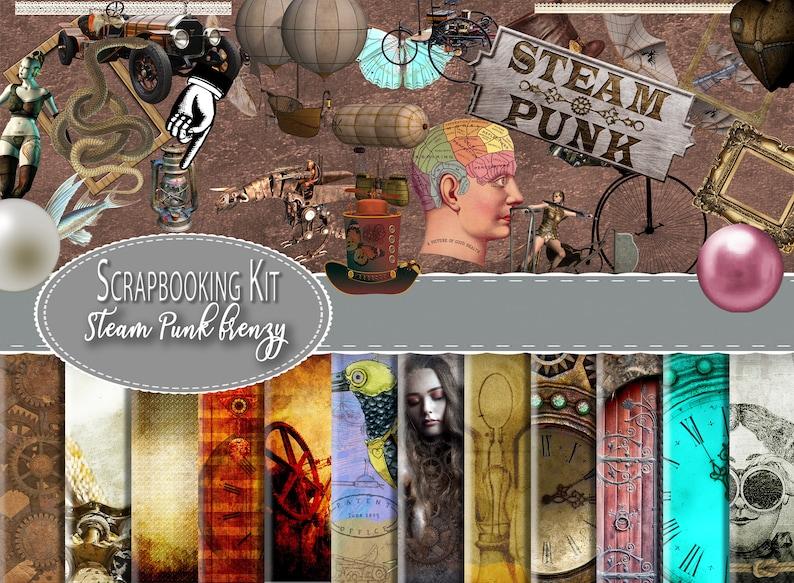 Printable Paper Steampunk Digital Scrapbooking Kit Digital Download