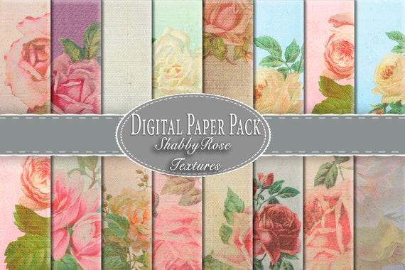 Printable 2417 Digital Paper Decoupage Pink Roses Digital Scrapbooking Pack Shabby Digital Paper Digital Paper Pack