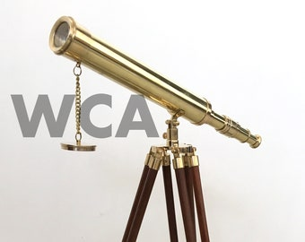Maritime Beautiful Brass Leather Wrapped Spyglass Telescope With Wooden Tripod