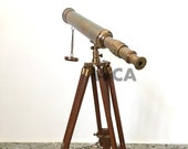 Antique Solid Brass Telescope With Wooden Stand Handmade Spy Glass Vintage Scope Maritime Home Office Decorative Gift