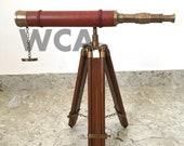 Nautical Brass Maritime Telescope With Tripod Handmade Vintage Scope Marine Navy Ship Spy Glass telescope With Stand Balcony decorative gift