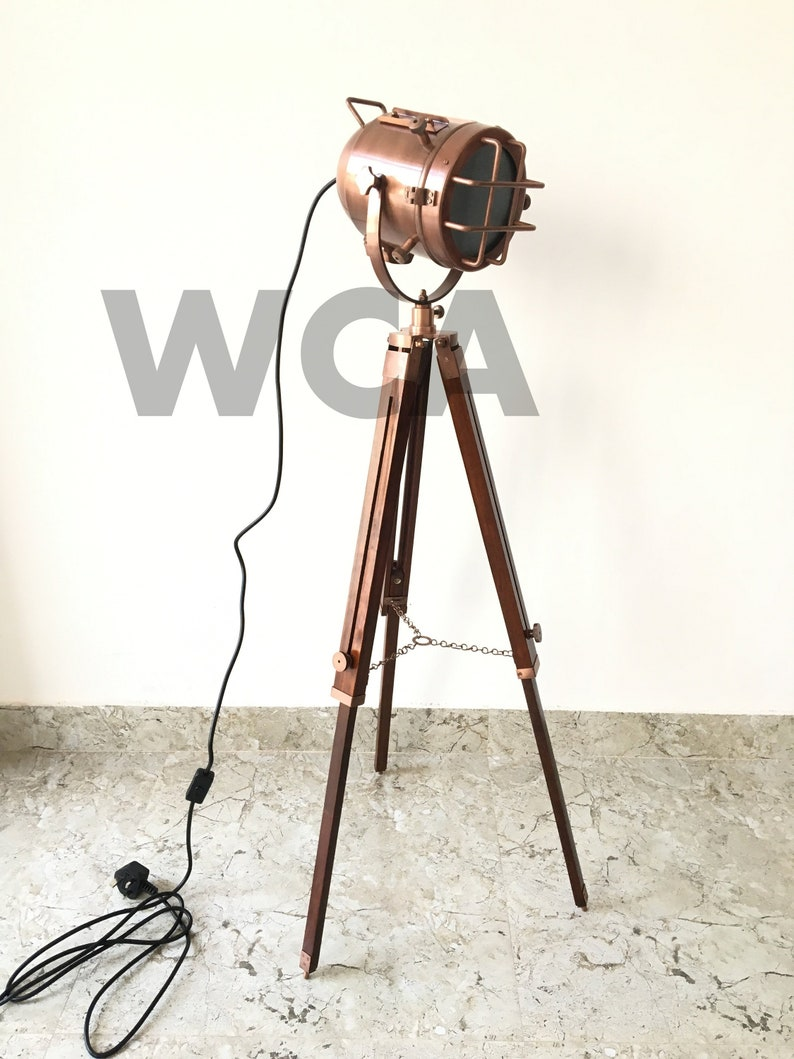 Picture of: Vintage Industrial Designer Tripod Floor Lamp Nautical Searchlight Big Lamp Xmas