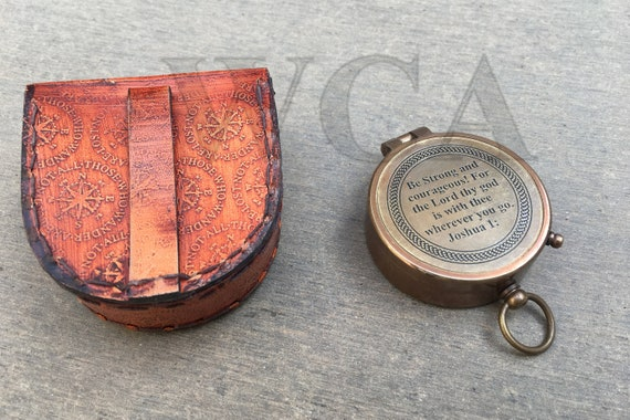 Brass Compass With Case Be Strong and Courageous,