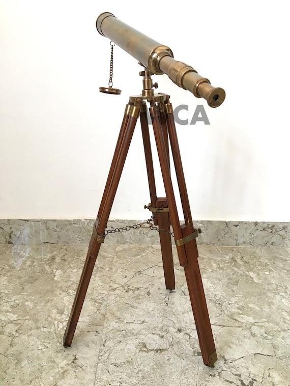Handmade brass Telescope With Wooden Tripod Navy Ship Marine Telescope Xmas Gift