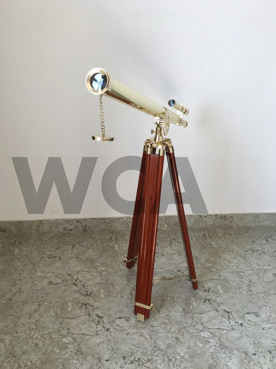 Working Marine Replica Collectible Nautical Brass Double Barrel Telescope with Tripod Stand