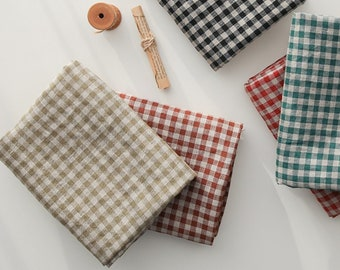 """1/2 Yard GRANES Airo Washed Pure Linen - Gingham in 4 Colours 62"""" Wide"""