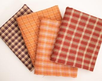 "1/2 Yard Brushed Cotton - Homemade Homespuns PUMPKIN and PURPLE by Moda 44"" Wide"