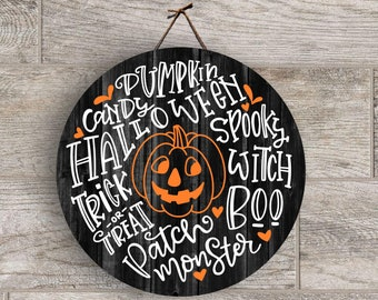 Halloween Word Art, Pumpkin, Round Fall Digital PNG File for sublimation blanks, Clipart, Digital Download