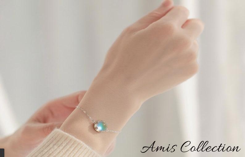Aurora Bracelet Halo Crystal Bracelet Dainty Bracelet Gift for Women Best Friend Gift Aurora Borealis Jewelry
