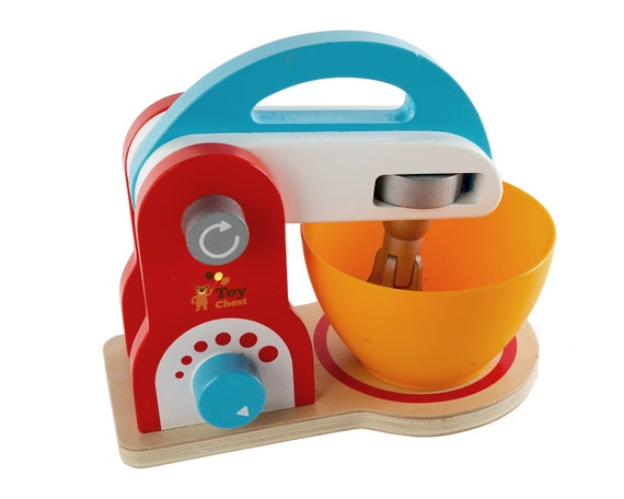 Wooden Kitchen Food Mixer Toy - Playfully Delicious Mighty Mixer Colorful  Set Wooden Play Kitchen Set Toys for Kids Preschoolers