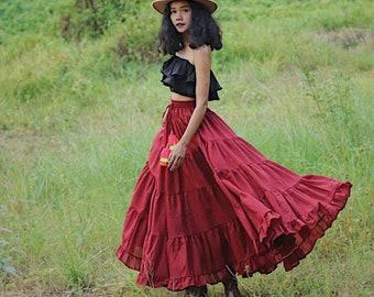 4fff9aeda6 Long Skirt/Long Boho Skirt/Gauze Cotton Skirt/Full Length Skirt/Peasant  Skirt/Cotton Gauze/Cotton Skirt/Bohemian Skirt/Boho Gypsy Maxi Skirt