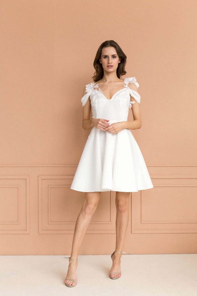 Robe De Mariée Courte Robe Blanche Courte Blanc Robe De Cocktail Robe De Mariée Simple Blanc Robe De Cocktail Robe De Mariée A Ligne Xs L