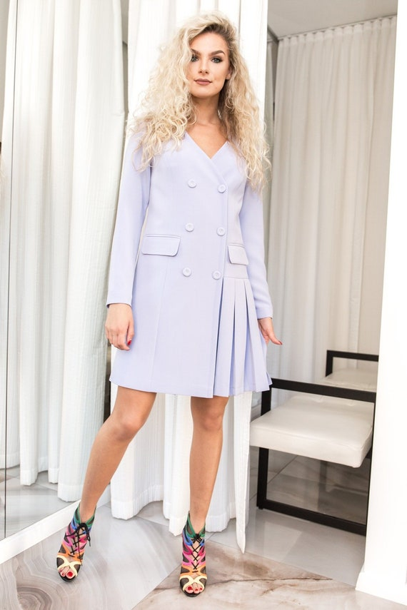 Purple Dress Women, Double Breasted Blazer Dress, Casual Summer Dress, Pleated Dress Long Sleeves, Casual Dress for Women, Day Dress