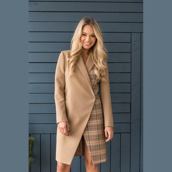 Long Blazer Dress, Suit Dress, Checked Cinnamon Dress, Knee Length Work Dress, Dress with Long Sleeves, Classic Dress, Midi Dress XS