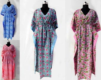 8b7ddf555e 20 Pcs Wholesale Lot Block Printed Long Kaftan Sexy Sleepwear Abaya Loose  Caftan Nightwear Maxi Dress