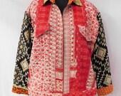 Indian Cotton Kantha Vintage Plus Size Jacket Hippie Fashionable Coat Boho Quilted Long jacket Free shipping