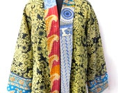 Reversible Vintage Cotton Kantha Jacket Hippie Floral Quilted Handmade Fashionable Coat