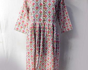 99eea8974d5 Anokhi Print Women Long Dress Hand Block Printed Designer Evening Kurti  Fashionable Tunic Maxi Dress