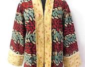 Vintage Cotton Kantha Floral Print Jacket Women Plus Size Quilted Summer Coat Sari Ethnic Jacket