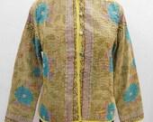 Vintage Cotton Short Kantha Jacket Floral Print Hippie Boho Designer Fashionable Coat