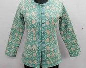 Indian Cotton Floral Print Women Short Jacket Boho Sexy Quilted Block Printed Short Coat
