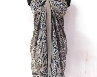 5240fbadaadcc Cotton Block Printed Beach Pareo Sexy Bikini Cover up Women Hijab Dupatta  Stole Swim Wear Dress