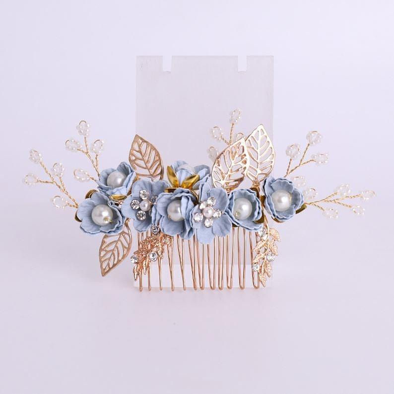 bridal comb gold hair accessories pink Hair comb bridal hair accessories blue wedding rhinestone bridal headpiece wedding headpiece gold bride