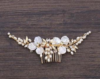 Hair comb bridal, gold hair accessories, wedding hair accessories, silver bridal jewelry, bridal comb gold, bridal headpiece wedding, hair comb silver