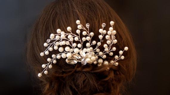 Haarkamm silber mit Perlen