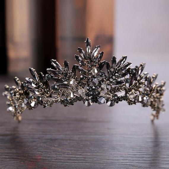 Diadem schwarz mit Kristallen