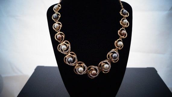 Perlenkette Braut gold