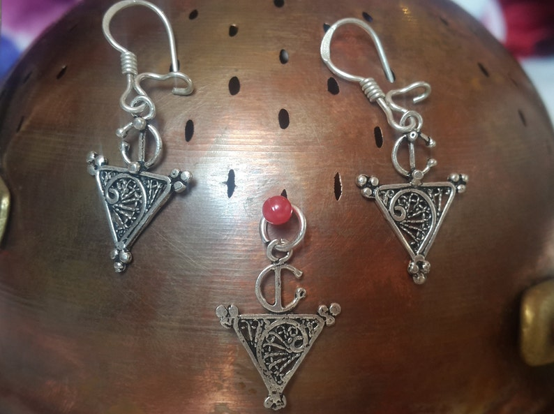 Moroccan Silver Tribal Pendant and Earrings Berber Hamsa Khlala African