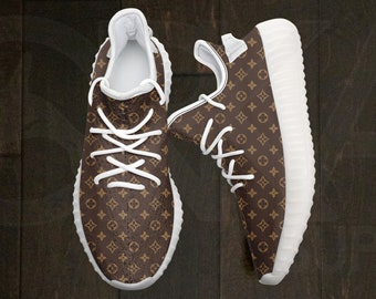 13681a3006 Custom Hand Sublimation Painted Brown Beige Luxury Monogram White Running  Shoes