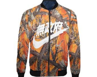quality design 2a516 56dde Realtree Orange Camouflage Air Tokyo Swooosh White Custom Lightweight  Bomber Jacket, Bomber Jacket, Jacket for him, Unisex Jacket