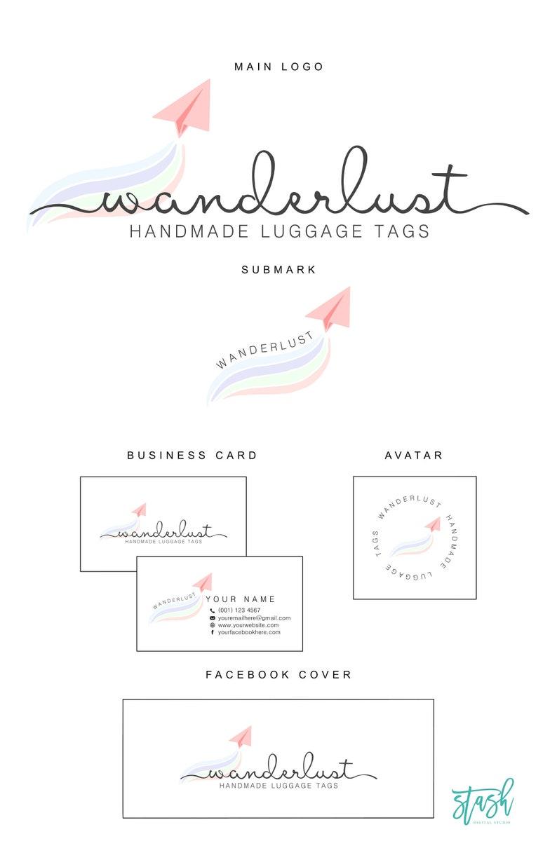 Paper Plane Premade Logo Design - Wanderlust Logo - Travel Logo - Airplane  Logo