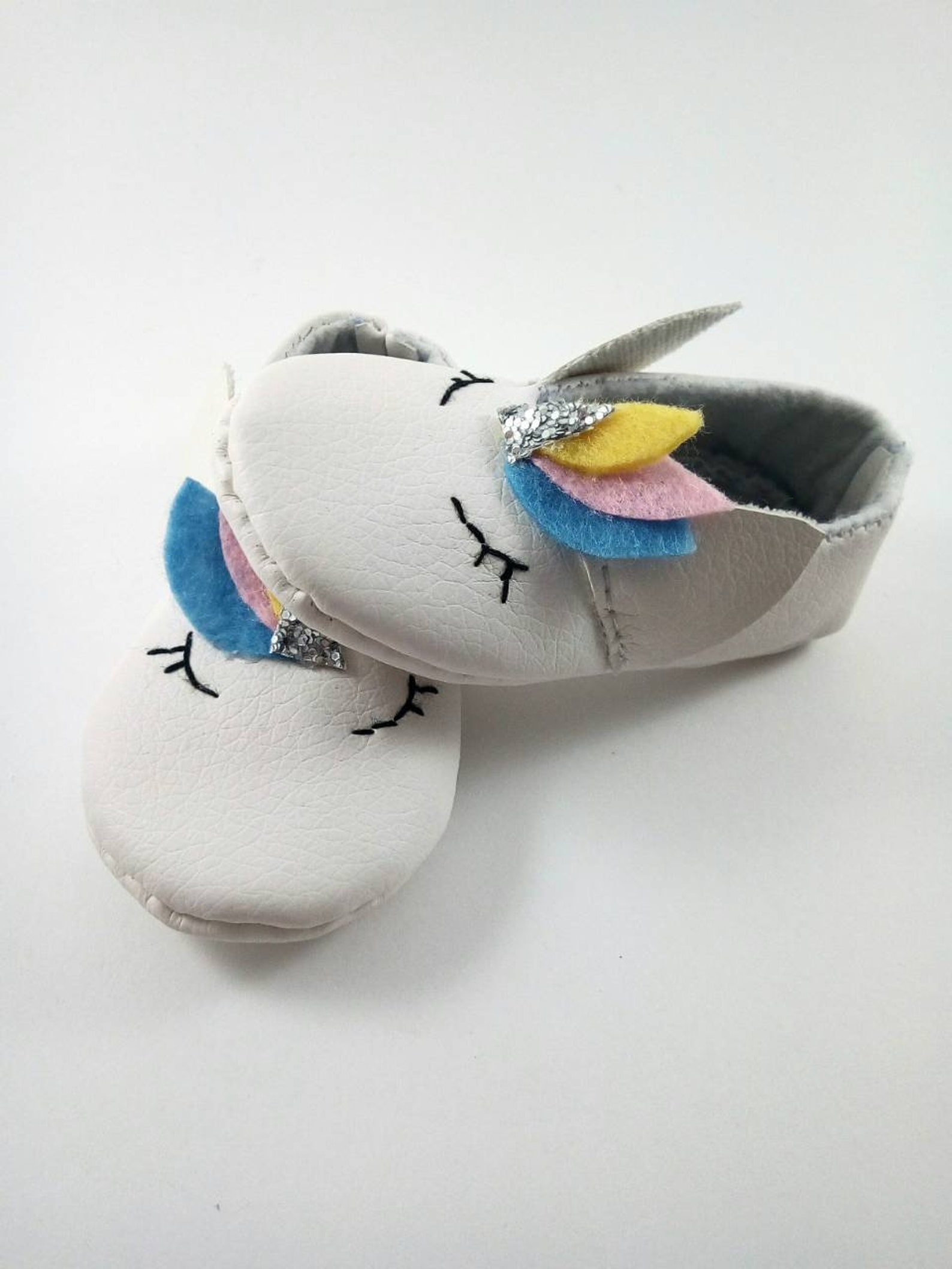 newborn booties, baby shoes, ballet flats with unicorn.