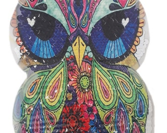 Whimsy Sequin Owl Applique Patch Clearance, Iron on