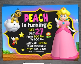 Princess Peach Invitation Invite Birthday Party Invites Printable Digital File