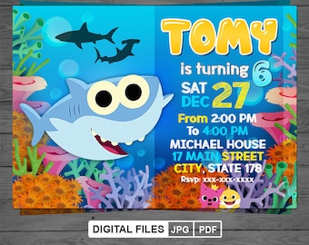 Baby Shark Birthday Invitation Party Printable Corjl