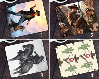 Southwestern Cowboy boots feathers and Buffalo skull fabric Home officeComputer Mouse Pad lizards Back to school Virtual schooling