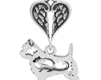 Sterling Silver Cairn Terrier Body Memorial Jewelry Cairn Terrier With Angel Wing Pet Memorial