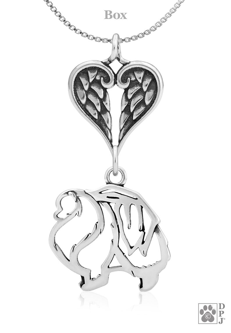 Pomeranian With Angel Wing Pet Memorial Sterling Silver Pomeranian Body Memorial Jewelry