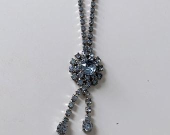 light blue rhinestone pendant necklace