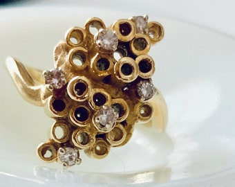 Diamond and 18k gold tube ring