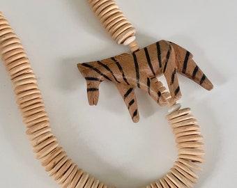vintage statement wooden zebra necklace
