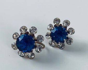 Vintage charming blue and crystal screw back earrings